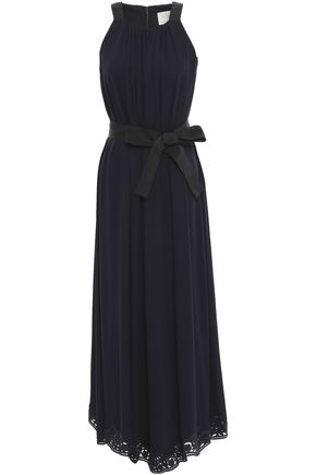 KATE SPADE New York Lace-trimmed silk-crepe midi dress