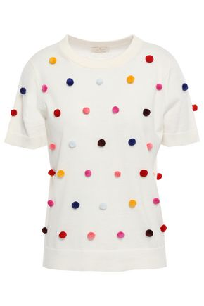 KATE SPADE New York Pompom-embellished cotton and cashmere-blend top