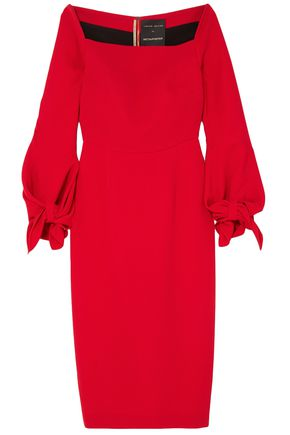 ROLAND MOURET Mapplewell bow-detailed crepe dress