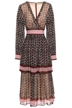 KATE SPADE New York Wrap-effect printed silk-georgette midi dress