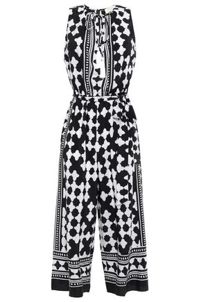KATE SPADE New York Belted printed silk crepe de chine jumpsuit