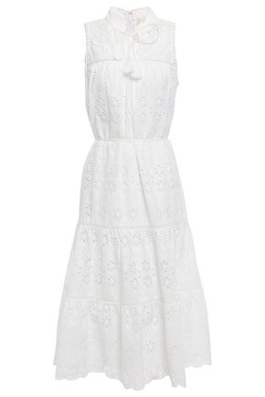 KATE SPADE New York Tassel-trimmed broderie anglaise cotton midi dress