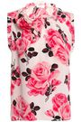 KATE SPADE New York Appliquéd floral-print silk top