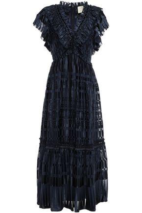 KATE SPADE New York Ruffled devoré chiffon midi dress