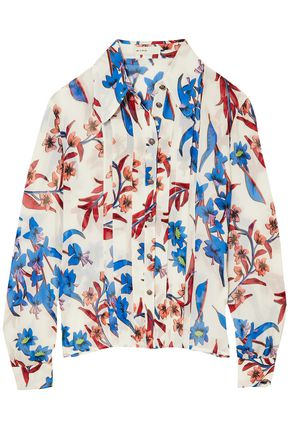 ETRO Pleated floral-print crinkled-silk shirt