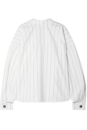 A.W.A.K.E. Reversible oversized pinstriped cotton-poplin shirt