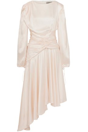 PREEN by THORNTON BREGAZZI Amber ruched silk-satin midi dress