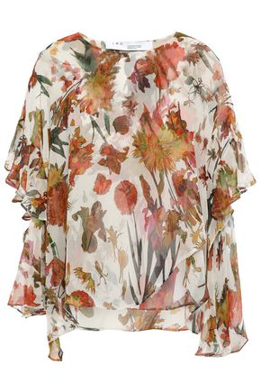 IRO Yellow cutout ruffled floral-print silk-chiffon blouse