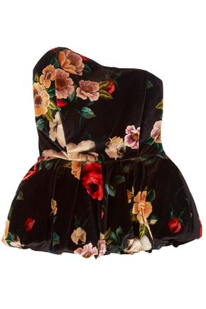 ATTICO Strapless floral-print velvet peplum top