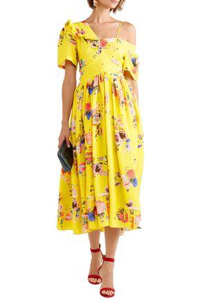 Preen By Thornton Bregazzi Dresses PREEN BY THORNTON BREGAZZI WOMAN DOMINO FLORAL-PRINT SILK-BLEND CLOQUÉ MIDI DRESS YELLOW