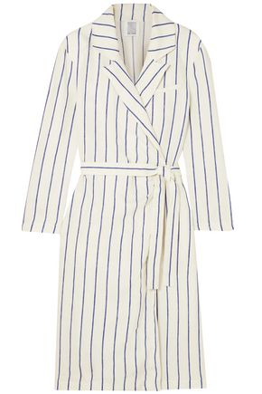 ROSIE ASSOULIN Striped linen wrap dress