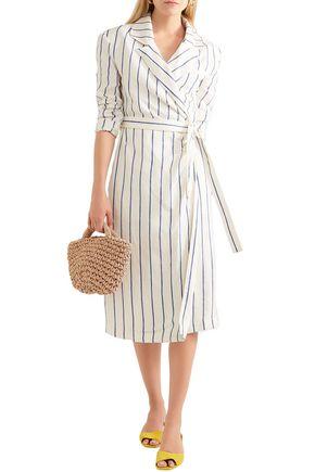 Rosie Assoulin Woman Striped Linen Wrap Dress Ivory