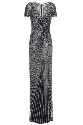 JENNY PACKHAM ラップ風 ツイスト入り グリッター加工 スパンコール付きチュール ロングドレス
