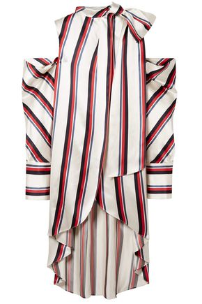 MONSE Oversized cold-shoulder striped satin-twill blouse