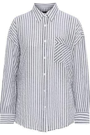 LINE Frayed striped cotton-gauze shirt