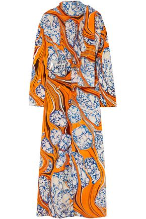 ROSIE ASSOULIN Tie-neck printed silk-blend crepe de chine maxi dress