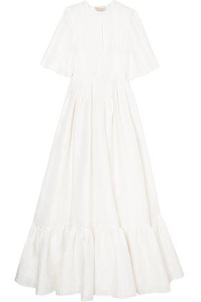 MERCHANT ARCHIVE Linen, cotton and silk-blend jacquard gown