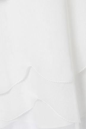 OSCAR DE LA RENTA Pussy-bow layered silk-georgette blouse