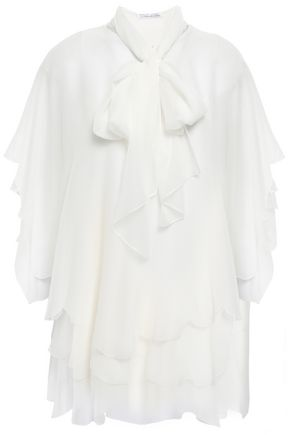 OSCAR DE LA RENTA Pussy-bow layered silk-georgette blouse