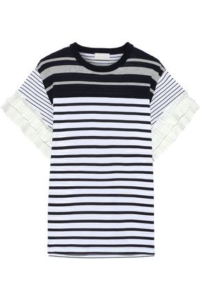 MAILLE CLU Pleated poplin-trimmed striped cotton-jersey T-shirt