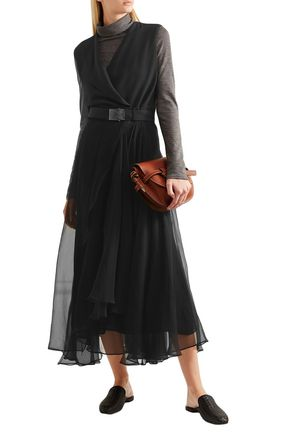 Brunello Cucinelli Belted Crepe And Chiffon Maxi Dress In Black