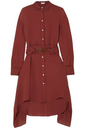 BRUNELLO CUCINELLI Belted asymmetric silk-chiffon shirt