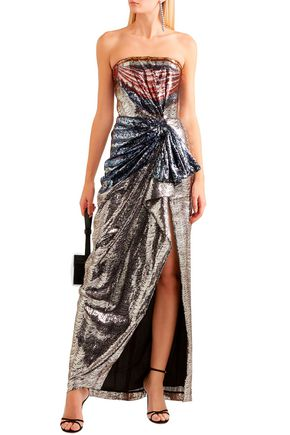 Mary Katrantzou Tops MARY KATRANTZOU WOMAN CONSORT STRAPLESS PRINTED SEQUINED CREPE GOWN SILVER