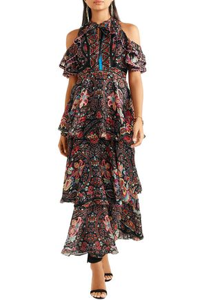 ETRO Cold-shoulder printed silk-georgette maxi dress