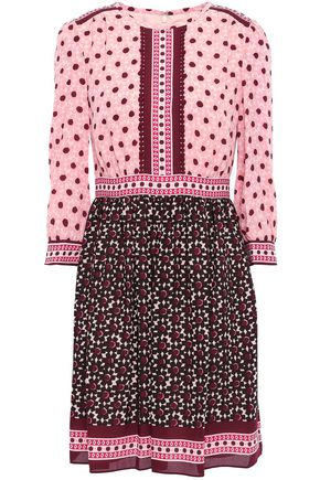 KATE SPADE New York Lace-trimmed crepe mini dress