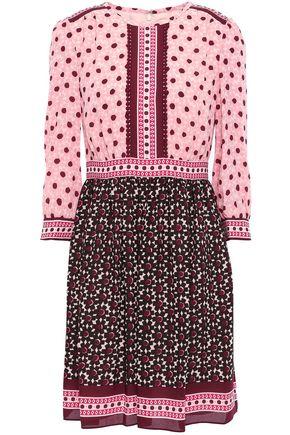 KATE SPADE New York Lace-trimmed crepe mini dress