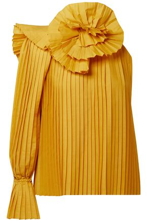 ROSIE ASSOULIN One-shoulder floral-appliquéd pleated poplin blouse