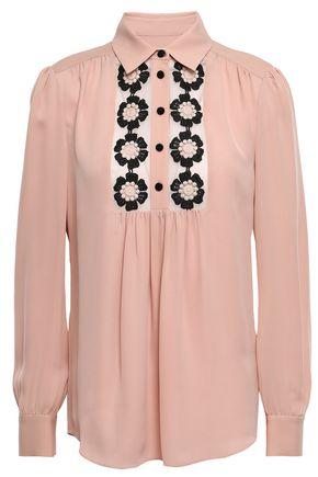 KATE SPADE New York Appliquéd silk-georgette blouse