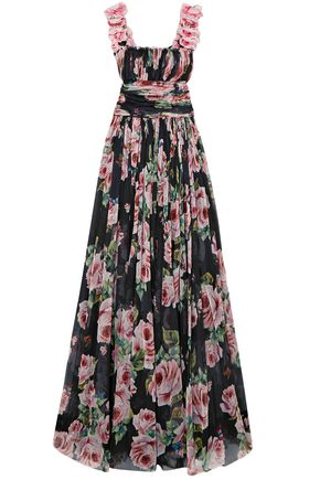 DOLCE & GABBANA Appliquéd floral-print silk-tulle gown