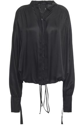ANN DEMEULEMEESTER Grosgrain-trimmed gathered mousseline shirt