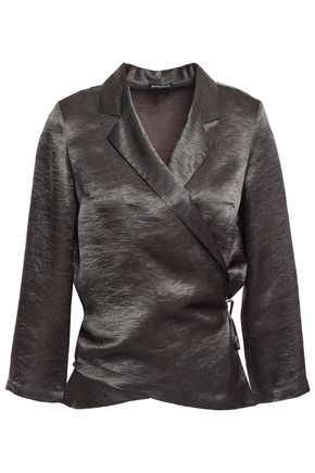 ANN DEMEULEMEESTER Crinkled-satin wrap top