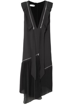 TRE by NATALIE RATABESI Liberty pleated chiffon-paneled silk-blend crepe dress