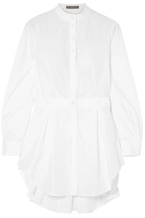 ALEXANDER MCQUEEN Piqué-trimmed pleated cotton-poplin shirt