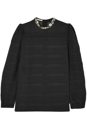 MIU MIU Embellished silk-georgette blouse