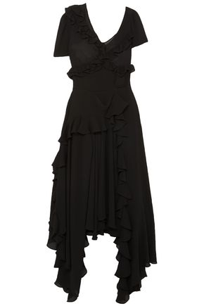 PREEN by THORNTON BREGAZZI Asymmetric ruffled crinkled-georgette dress