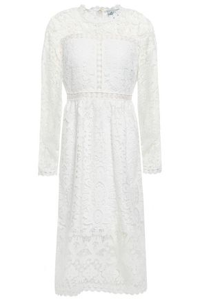 KATE SPADE New York Lattice-trimmed guipure lace midi dress