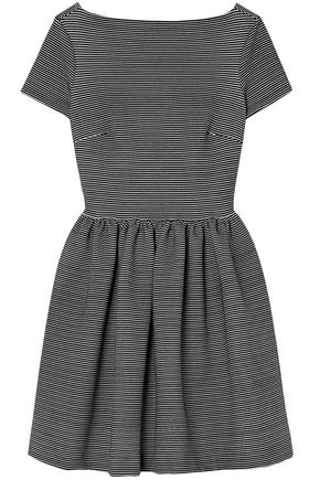 MIU MIU Gathered striped jersey mini dress