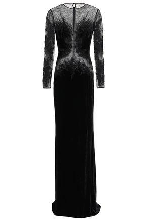 ZUHAIR MURAD 装飾付き レースパネル ベルベット ロングドレス