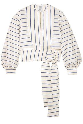 ROSIE ASSOULIN Cropped striped linen wrap top