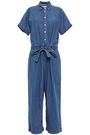 KATE SPADE New York Cropped cotton-blend chambray jumpsuit