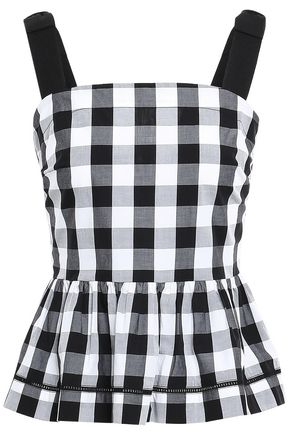 KATE SPADE New York Gingham cotton-poplin peplum top