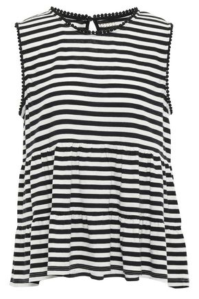KATE SPADE New York Gathered striped cotton-jersey top