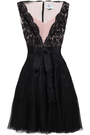 KATE SPADE New York Bow-embellished cotton-blend corded lace, tulle and satin mini dress