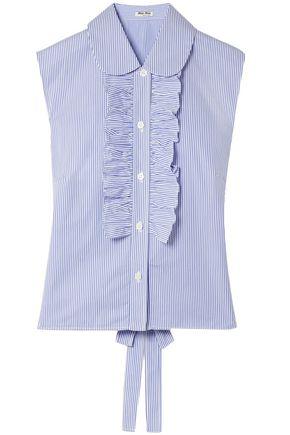 MIU MIU Ruffle-trimmed striped cotton-poplin top