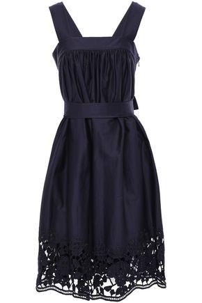 KATE SPADE New York Lace-trimmed stretch-cotton poplin mini dress