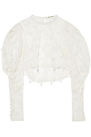 SAINT LAURENT Cropped cotton-blend lace blouse